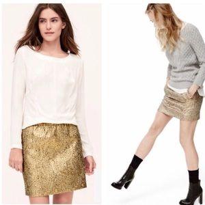 NWOT Loft Gold Brocade Mini Skirt Size Small